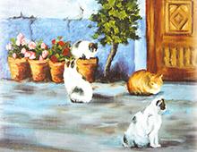 Kort med motiv av fire katter ved døren til et hus. Krukker med blomster står også ved døren. Bilde.