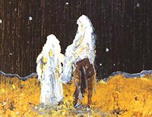 Kort med motiv av Josef og Maria på et esel med julestjernen på himmelen. Bilde.