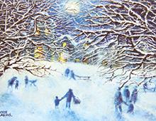 Kort med motiv av folk på vei til en kirke på vinterstid. Bilde.