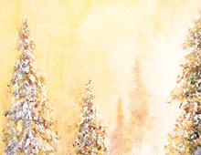 Kort med motiv av snedekte grantrær. Bilde.