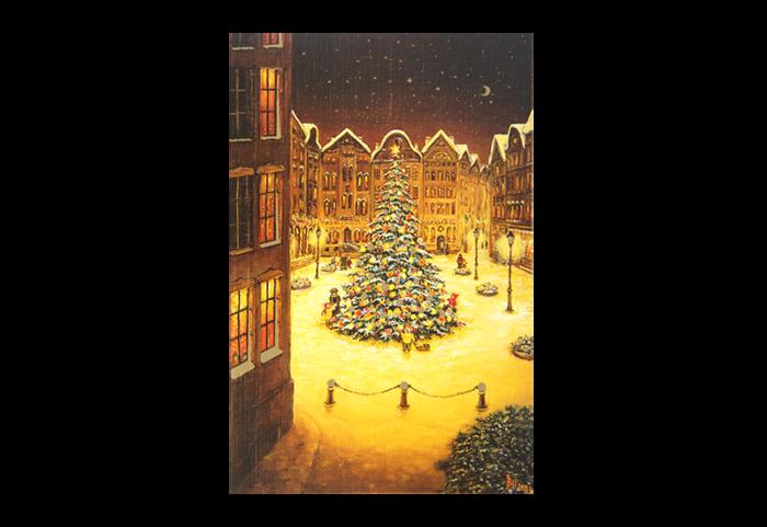 Kort med maleri av et stort pyntet juletre på en plass i en by. Bilde.