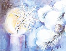 Kort med malt motiv av snedekkede grankvister, en snekrystall og et brennende stearinlys. Bilde.