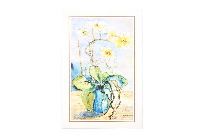 Kort med motiv av en orkidé i en blå krukke. Bilde.