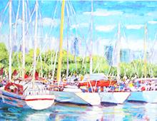 Kort med motiv av en havn med seilbåter. Bilde.