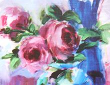 Kort med motiv av roser. Et kvadrat med hvit ramme er fremhevet. Bilde.