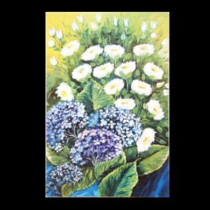 Kort med motiv av blå og hvite blomster. Bilde.