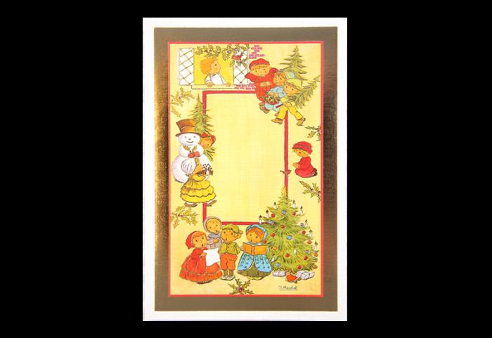 Kort med motiv av barn, juletrær og en snemann. Gullramme. Bilde.