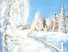 Kort med vintermotiv av snedekkede trær, et gjerde og et hus. Bilde.