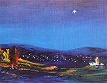 Kort med motiv av gjetere som ser på julestjernen over Betlehem. Bilde.