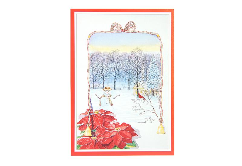 Kort med motiv av en juletjerne foran. I en ramme laget av sløyfebånd med bjeller sees en snømann i vinterlandskap. Bilde.
