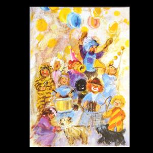 Kort med motiv av en flokk med barn som har kledd seg ut og spiller på trommer og trompeter. Bilde.