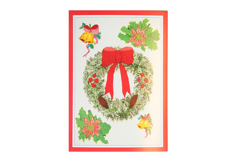 Kort med motiv av en julekrans med rød sløyfe. Rød ramme. Bilde.