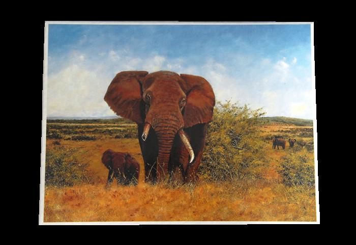 Puslespill med motiv av en elefant med brukket støttann på savannen sammen med ungen sin. Bilde.