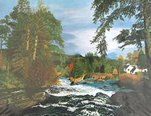 Puslespill med motiv av et elvestryk med en bro og et hus. Bilde.