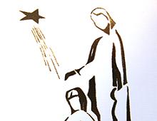 Moderne kristent motiv av Jesubarnet i Marias fang. Bilde.