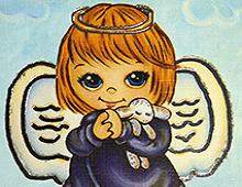 Barnslig engel med lite lam. Bilde.