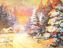 Koselig hytte i vinterskog. Bilde.