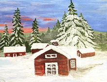 Røde hytter i vinterlandskap. Bilde