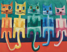 Fargerike katter på rad. Bilde.