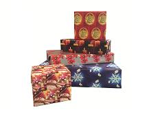 Julegavepapir med forskjellig julemotiv. Bilde.