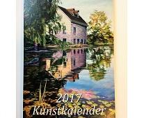 Kunstkalender 2017 forside. Hus ved dam med vannliljer.