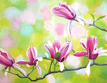 Kort med nærbilde av rosa orkideer på en gren. Bilde.