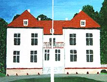 Kort med motiv av Eidsvollsbygningen med det norske flagget vaiende i vinden forann. Bilde.