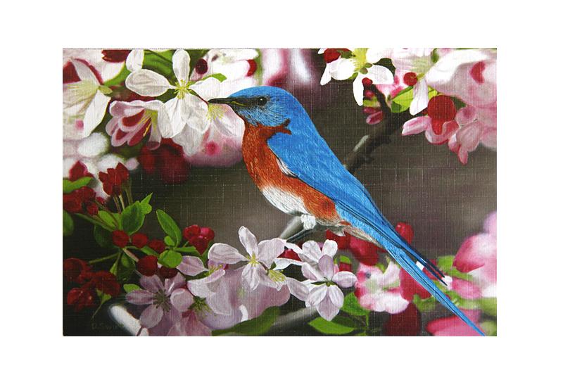 Kort med motiv av en liten fugl mellom blomster på en gren. Bilde.