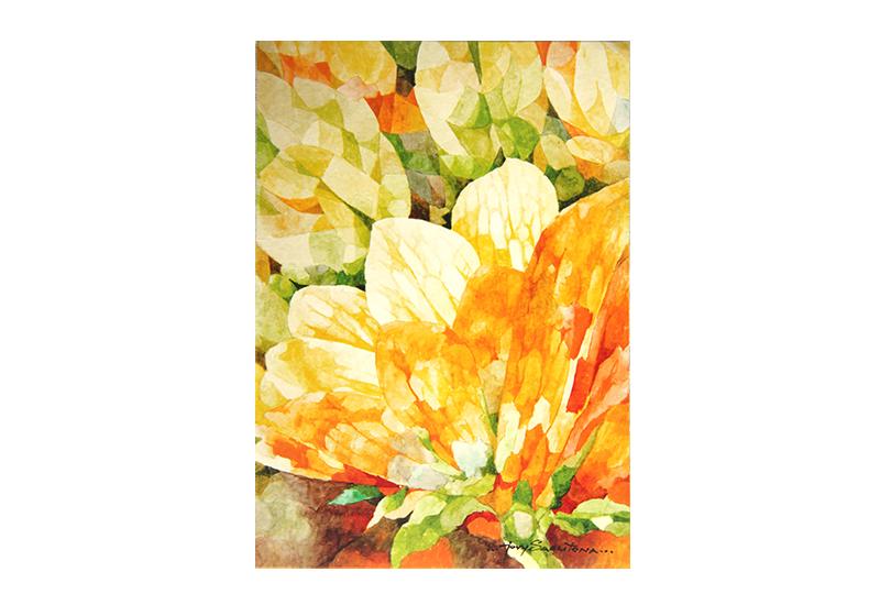 Kort med stillistisk motiv av gule blomster. Bilde.
