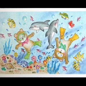 Kort med fargerikt motiv av to bamser som dykker sammen med fisker og delfiner. Bilde.