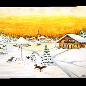 Kort med motiv av en hytte i snedekket landskap. Foran ser vi et fuglebrett med fugler som spiser og et ekorn. Bilde.