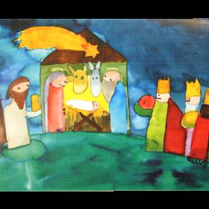 Kort med motiv av Jesusbarnet i stallen og de tre vise menn. Bilde.