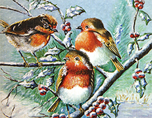 Kort med motiv av småfugler på en gren. Bilde.