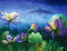 Lilla blomster mystisk landskap. Bilde.