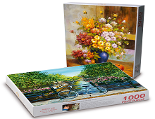 2 nye puslespill i 2016. Blå sykkel ved blomstrende kanal og Blomster i vase med epler. Bilde