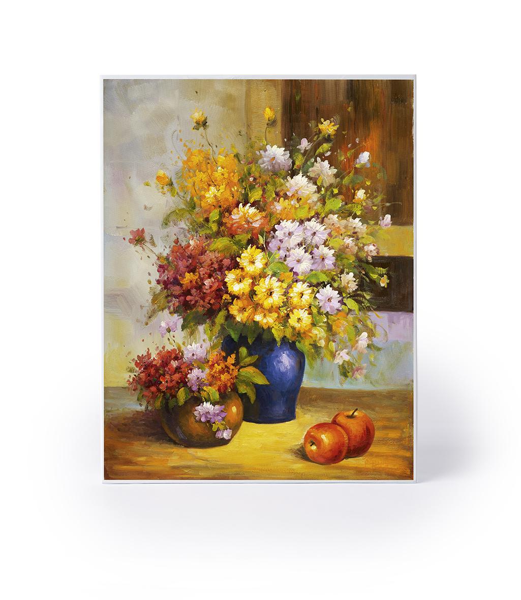 Puslespill med blomsterbukett i hver sin vase, to epler. Bilde.