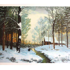 Maleri med motiv av en elv i en snedekket skog. Vi ser også et hus og to mennesker. Bilde.