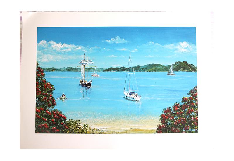 Maleri av båter ved stranden. Bilde.
