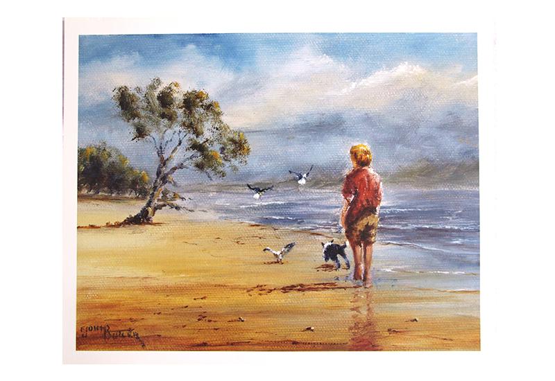 Maleri med motiv av en gutt og en hun på en strand. Bilde.