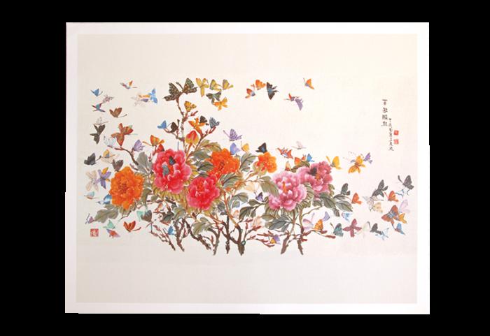 Bilde med blomster og sommerfugler. Bilde.