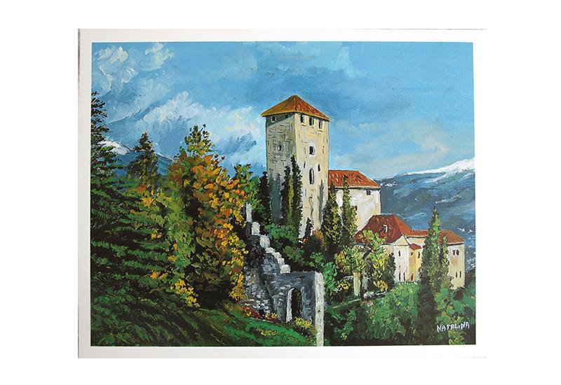 Maleri av et slott langs fjellsiden. Bilde.