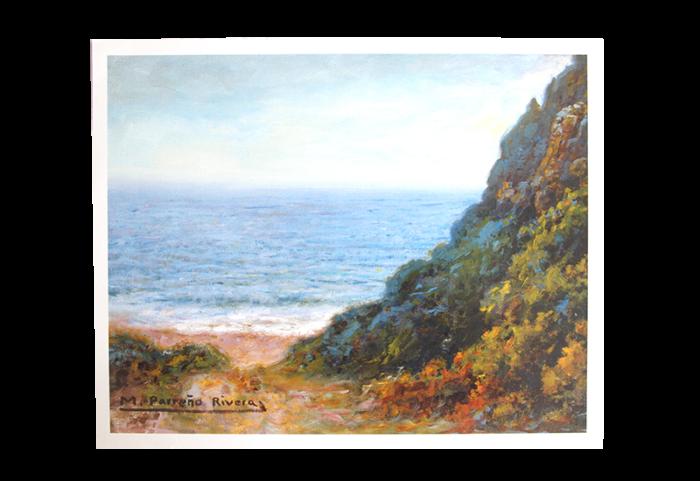 Maleri med motiv av landskap ved kysten. Bilde.