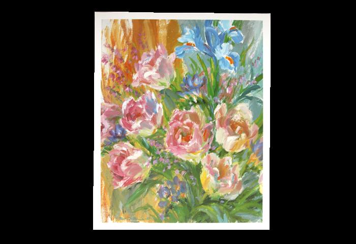 Maleri med motiv av en blomsterbukett. Bilde.