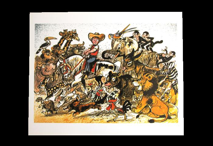 Maleri i tegneseriestil med motiv av en cowboy på hest og en horde med alle slags dyr fra løve til sjiraffer. Bilde.