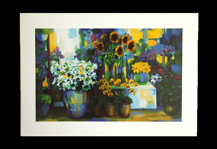 Reproduksjon av stilleben med forskjellige blomster i vaser. Bilde.