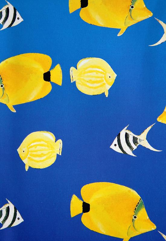 Sommergavepapir med blått ark med gule akvariefisker. Bilde.