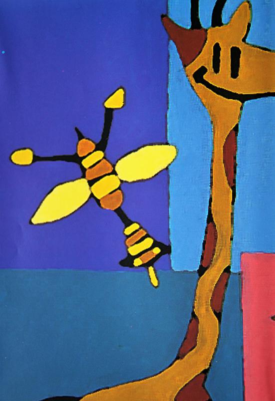 Sommergavepapir med barnlig motiv av blant annet sjiraffer og elefanter. Bilde.