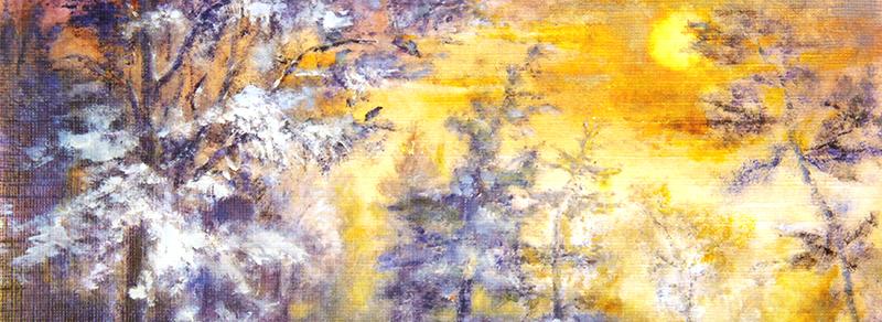 Kort med motiv av en skog. Bilde.