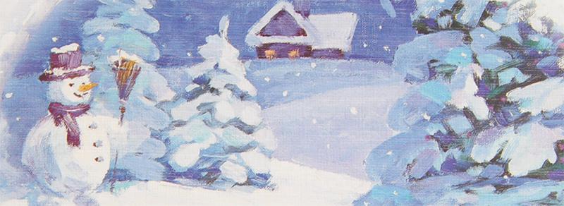 Kort med motiv av snemann og hus i vinterlandskap. Bilde.