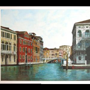 Reproduksjon med motiv av Grand Canal i Venezia. Bilde.